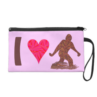 I Heart Bigfoot Walking Sasquatch Squatchy Girl Wristlet Purse
