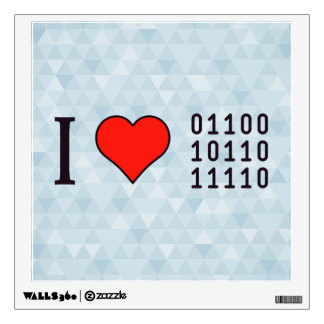 I Heart Binary Codes Wall Decal