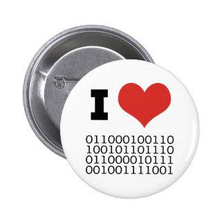 I Heart Binary Pinback Button