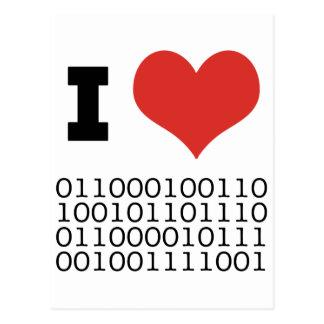 I Heart Binary Post Cards