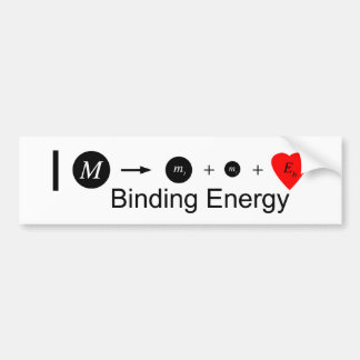 I heart Binding Energy Car Bumper Sticker
