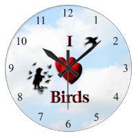 I Heart Birds Cloudy Day  Kitchen Wall Clock