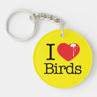 I Heart Birds Keychain