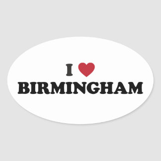 I Heart Birmingham England Oval Stickers