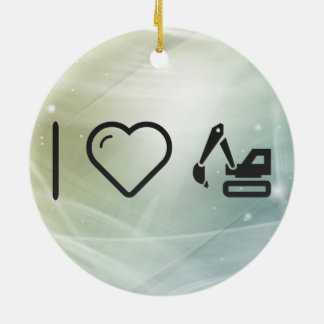 I Heart Black Backhoes Double-Sided Ceramic Round Christmas Ornament