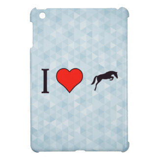 I Heart Black Jumping Horses iPad Mini Covers