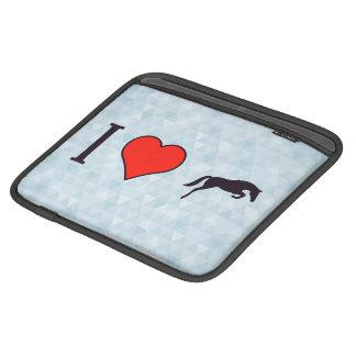 I Heart Black Jumping Horses iPad Sleeves