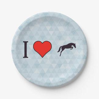 I Heart Black Jumping Horses Paper Plate