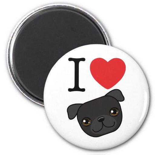 I Heart Black Pugs 2 Inch Round Magnet