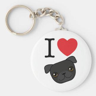I Heart Black Pugs Basic Round Button Keychain