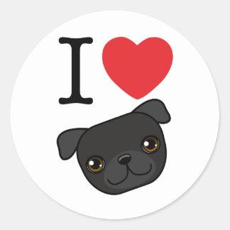 I Heart Black Pugs Classic Round Sticker