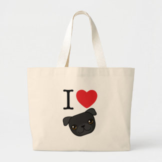 I Heart Black Pugs Large Tote Bag