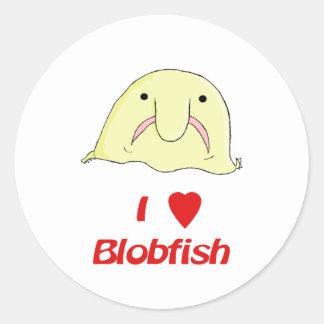 I heart blob classic round sticker