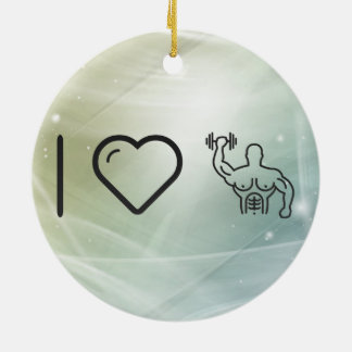 I Heart Body Buildings Double-Sided Ceramic Round Christmas Ornament