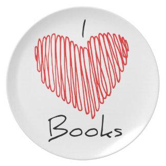 I Heart Books Dinner Plate