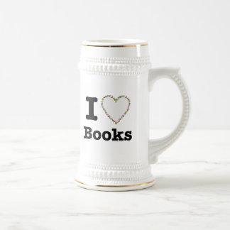 I Heart Books - I Love Books! Colorful Swirls Beer Stein