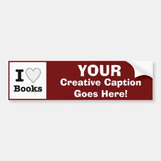 I Heart Books - I Love Books! Colorful Swirls Car Bumper Sticker