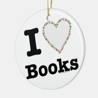 I Heart Books - I Love Books! Colorful Swirls Ceramic Ornament
