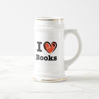I Heart Books! I Love Books! (Crayon Heart) Beer Stein