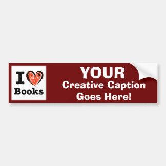 I Heart Books! I Love Books! (Crayon Heart) Car Bumper Sticker