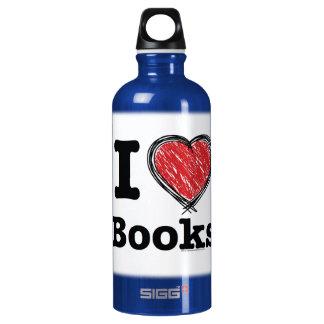 I Heart Books! I Love Books! (Scribbled Lines) Aluminum Water Bottle
