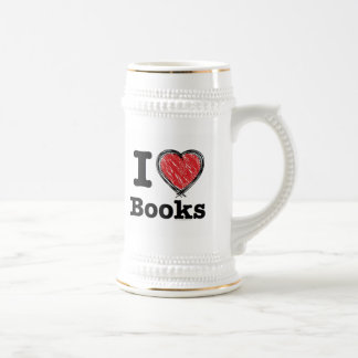 I Heart Books! I Love Books! (Scribbled Lines) Beer Stein