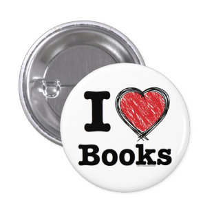 I Heart Books I Love Books Scribbled Lines Button