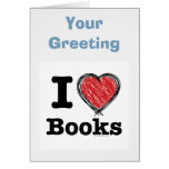 I Heart Books! I Love Books! (Scribbled Lines) Cards