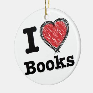 I Heart Books! I Love Books! (Scribbled Lines) Ceramic Ornament