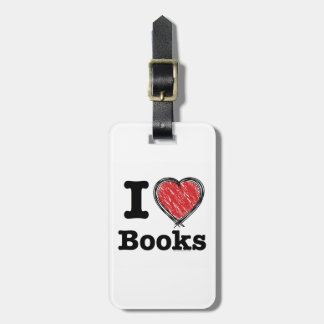 I Heart Books! I Love Books! (Scribbled Lines) Luggage Tag