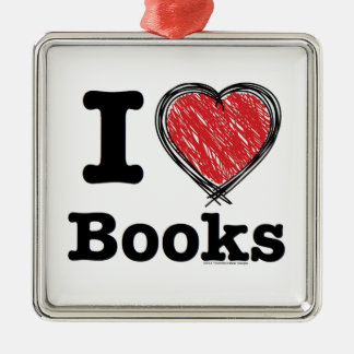 I Heart Books! I Love Books! (Scribbled Lines) Metal Ornament