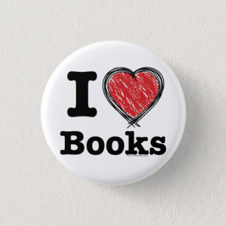 I Heart Books! I Love Books! (Scribbled Lines) Pinback Button