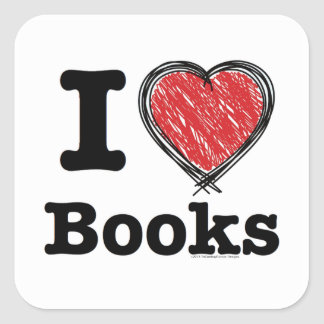 I Heart Books! I Love Books! (Scribbled Lines) Square Stickers