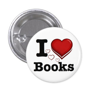 I Heart Books! I Love Books! (Shadowed Heart) 1 Inch Round Button