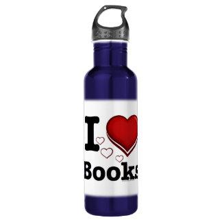 I Heart Books! I Love Books! (Shadowed Heart) 24oz Water Bottle