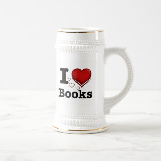 I Heart Books! I Love Books! (Shadowed Heart) Beer Stein
