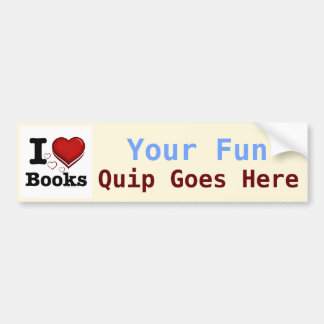 I Heart Books! I Love Books! (Shadowed Heart) Car Bumper Sticker