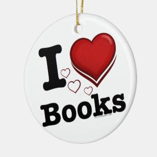 I Heart Books! I Love Books! (Shadowed Heart) Ceramic Ornament