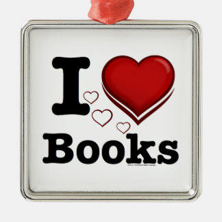 I Heart Books! I Love Books! (Shadowed Heart) Metal Ornament