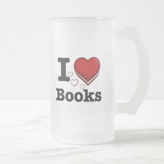 I Heart Books! I Love Books! (Shadowed Heart) 16 Oz Frosted Glass Beer Mug
