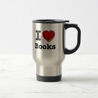 I Heart Books! I Love Books! (Shadowed Heart) 15 Oz Stainless Steel Travel Mug