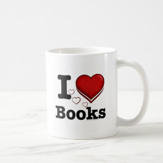 I Heart Books! I Love Books! (Shadowed Heart) Classic White Coffee Mug