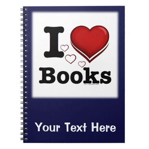 I Heart Books! I Love Books! (Shadowed Heart) Notebook