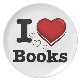 I Heart Books I Love Books Shadowed Heart Party Plates