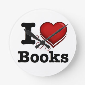 I Heart Books! I Love Books! (Shadowed Heart) Round Clock
