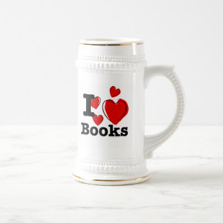 I Heart Books! I Love Books! (Sketchy Heart) Beer Stein