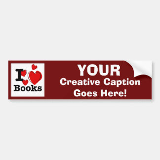 I Heart Books! I Love Books! (Sketchy Heart) Car Bumper Sticker