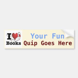 I Heart Books I Love Books! Swirly Curlique Heart Car Bumper Sticker