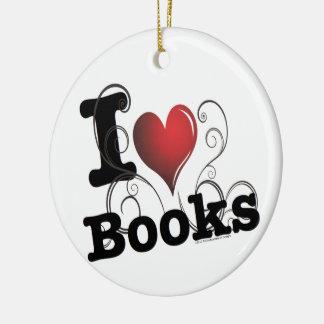 I Heart Books I Love Books! Swirly Curlique Heart Ceramic Ornament