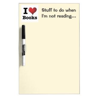 I Heart Books I Love Books! Swirly Curlique Heart Dry Erase Board